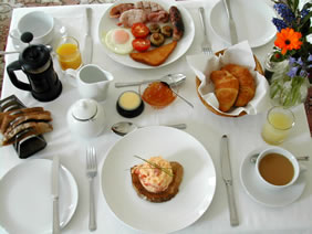 A great breakfast served at Britmead B&B at West Bay, Dorset